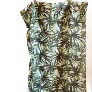 2 sheer palm leaf curtain panels